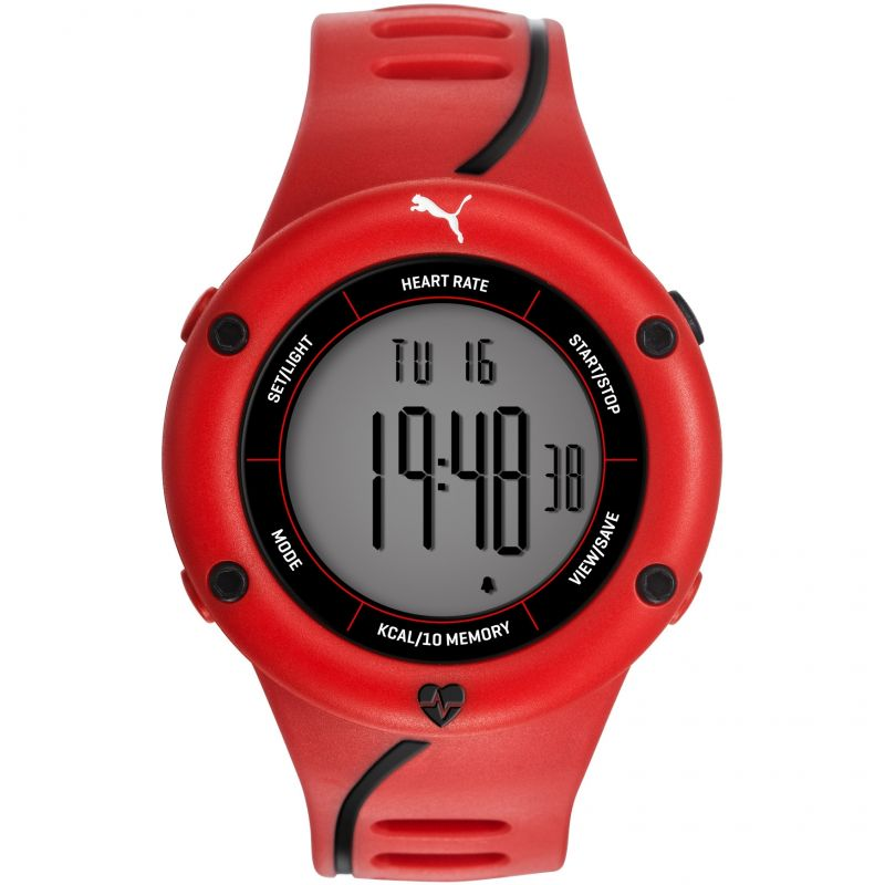 Mens Puma PU91136 CARDIAC 01 - red black Alarm Chronograph Watch PU911361003