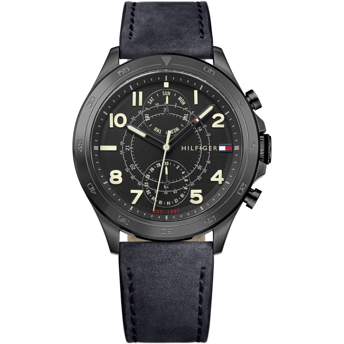 New New Tommy Hilfiger 1791345 Hudson Black Ion-Plated Steel Watch for Men On Sale Sale Online