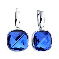 Ladies Sokolov Sterling Silver Express Yourself Blue Crystal Earrings