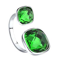 Ladies Sokolov Sterling Silver Express Yourself Green Crystal Ring size N 94011880