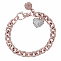 Ladies Bronzallure 18ct Rose Gold Plated Bronze Victoria Oval Rolo Bracelet with Pave Heart Pendant