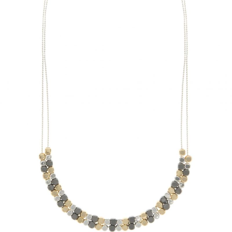 Ladies Nine West Two-tone steel/gold plate Double row Necklace 60450245-Z01