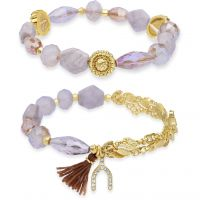 Ladies Lonna And Lilly Gold Plated Set of 2 Stretch Bracelets 60451815-C48