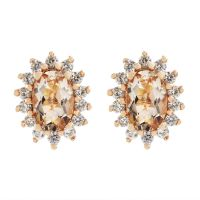 Damen Gemstone Sterlingsilber Morganite & Weiß Zircon Cluster Stud Ohrringe