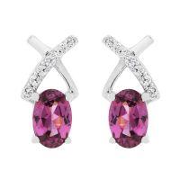 Ladies Gemstone Sterling Silver Purple Rhodolite & White Zircon Crossover Stud Earrings OJS0015E-PR