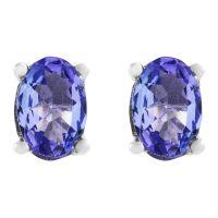 Gemstone Jewellery Oval Tanzanite Stud Earrings JEWEL