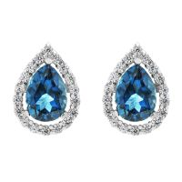 Gioielli da Donna Gemstone Jewellery London Blue Topaz Cluster Stud Earrings G0119E-LBT