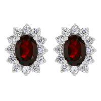 Ladies Gemstone Sterling Silver Garnet Cluster Stud Earrings G0111E-GA