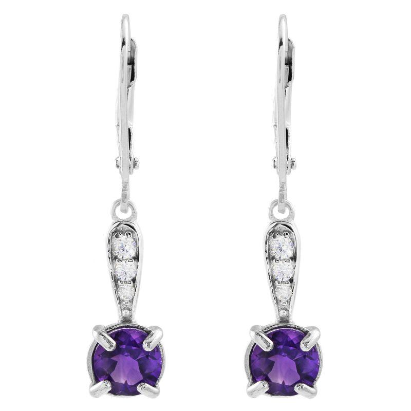 Ladies Gemstone Sterling Silver African Amethyst Earrings G0091E-AA