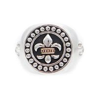 Mens Icon Brand Two-Tone Steel and Rose Plate Rebel Heritage Lys Sovereign Ring Size Large RH016-R-BLK-LGE