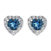Ladies Gemstone Sterling Silver London Blue Topaz and Cubic Zirconia Heart Stud G0047E-LBT