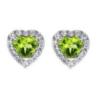 Damen Gemstone Sterlingsilber Peridot und würfelförmig Zirconia Herz Stud Ohrringe
