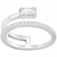 Ladies Swarovski Rhodium Plated Size N Gray Ring 5265697