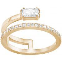 Damen Swarovski Rose vergoldet Größe N Grau Ring