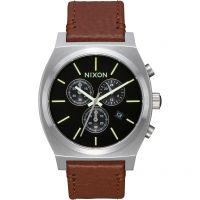 homme Nixon The Time Teller Chrono Leather Chronograph Watch A1164-1037