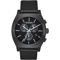 Nixon The Time Teller Chrono Leather Herenchronograaf Zwart A1164-756