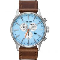 Mens Nixon The Sentry Chrono Leather Chronograph Watch