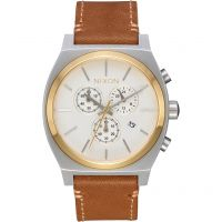 homme Nixon The Time Teller Chrono Leather Chronograph Watch A1164-2548