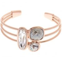Ladies Karen Millen Rose Gold Plated Milano Stone Cluster Bangle