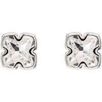 Ladies Karen Millen Silver Plated Art Glass Flower Stud Earrings KMJ924-01-02