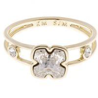 Damen Karen Millen vergoldet Kunst Glas Blume Ring Größe ML