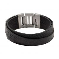 Mens Fossil Silver Plated & Leather Bracelet JF84818040
