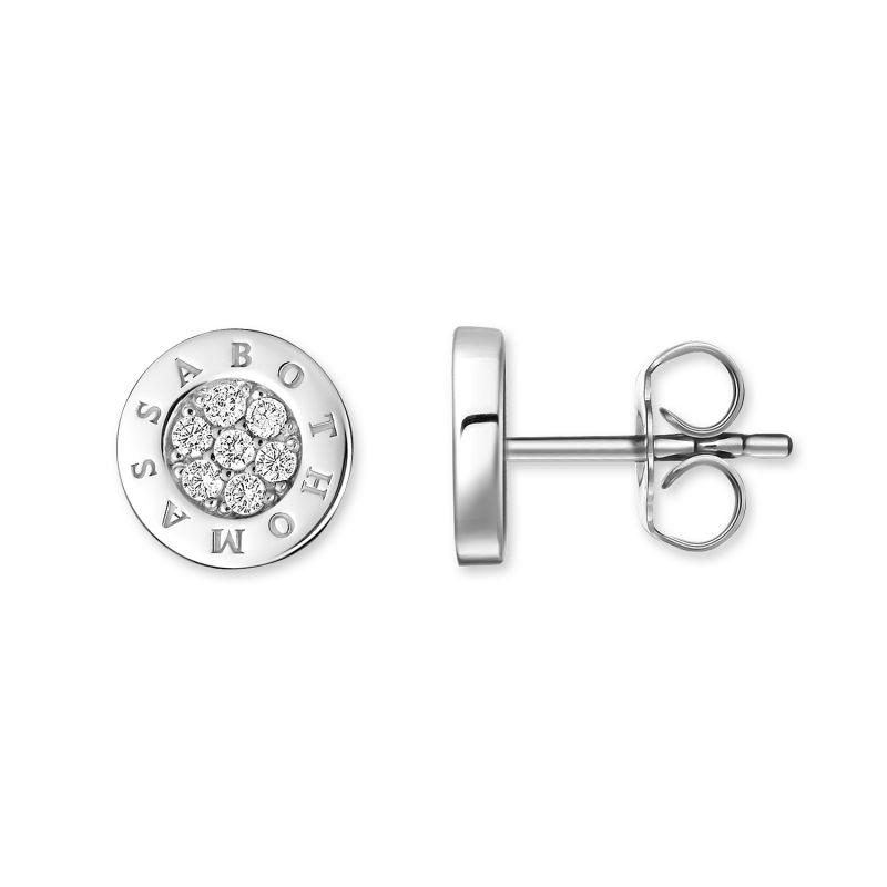 Ladies Thomas Sabo Sterling Silver Glam & Soul Diamond Logo Stud Earrings H0009-725-14