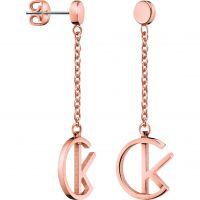 Ladies Calvin Klein Rose Gold Plated League Earrings KJ6DPE100100