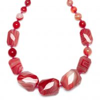 Ladies Lola Rose Gold Plated Baltazar Scarlet Agate Necklace 618793