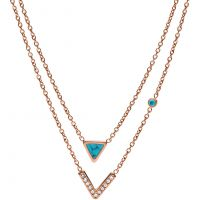 femme Fossil Jewellery Turquoise Multistrand Necklace Watch JF02644791