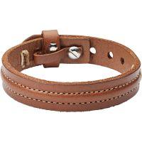 Herren Fossil Edelstahl & Leder Armband