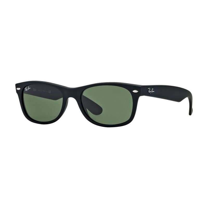 Mens Ray-Ban Matte Black/Green Classic G15 New Wayfarer Classic Sunglasses RB2132-622-55
