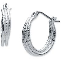 Ladies Nine West Silver Plated Hoop Earrings