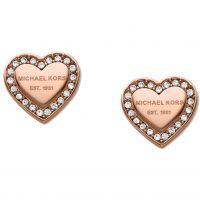 Damen Michael Kors Rose vergoldet Herz Stud Ohrringe