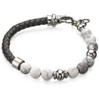 Herren Fred Bennett Silber Plated & Grau Perle Armband