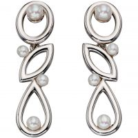 Ladies Elements Sterling Silver Cultured Pearl Drop Earrings