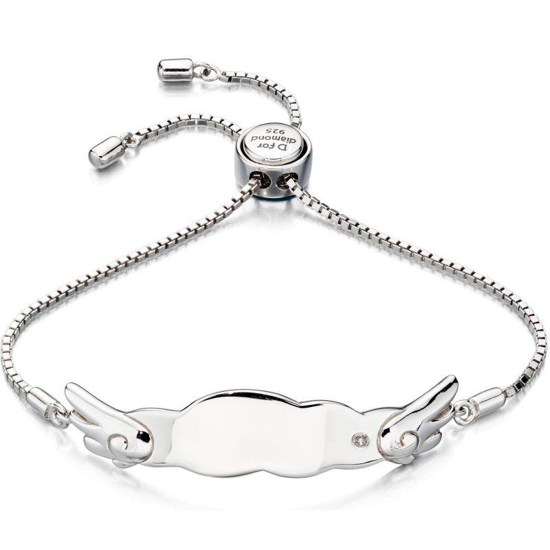 Childrens D For Diamond Sterling Silver ID Bracelet B4877