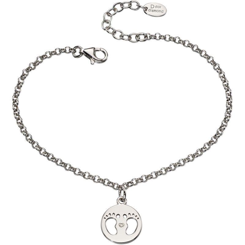 Childrens D For Diamond Sterling Silver Footprint Charm Bracelet B4945