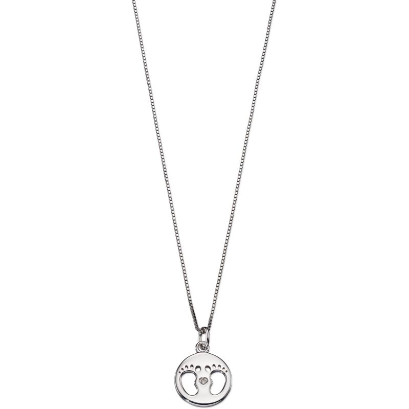 Childrens D For Diamond Sterling Silver Footprint Necklace P4443