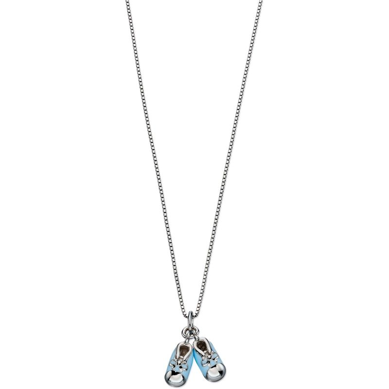 Childrens D For Diamond Sterling Silver Blue Bootie Necklace P4441
