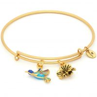 Damen Chrysalis PVD Gold überzogen NATUR HUMMINGBIRD EXPANDABLE BANGLE