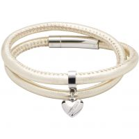 Ladies Unique Stainless Steel & Leather Bracelet B358GO/19CM