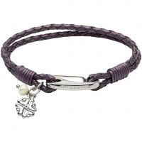 Ladies Unique Stainless Steel & Leather Bracelet B360BE/19CM