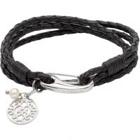 Ladies Unique Stainless Steel & Leather Bracelet B362BL/19CM