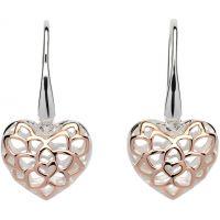 Ladies Unique Sterling Silver Filigree Heart Drop Earrings ME-607