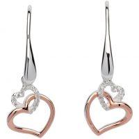 Ladies Unique Sterling Silver Double Heart Drop Earrings ME-612