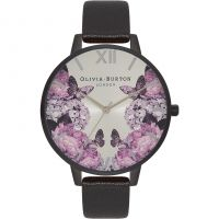 Damen Olivia Burton After dunkel geblümt Schmetterling Print Uhren