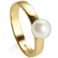 Ladies Jersey Pearl PVD Gold plated Viva Ring Size L