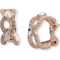 Ladies Anne Klein Rose Gold Plated Pave Set Clip-On Hoop Earrings