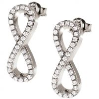 Ladies Folli Follie Sterling Silver Infinity Fashionably Stud Earrings